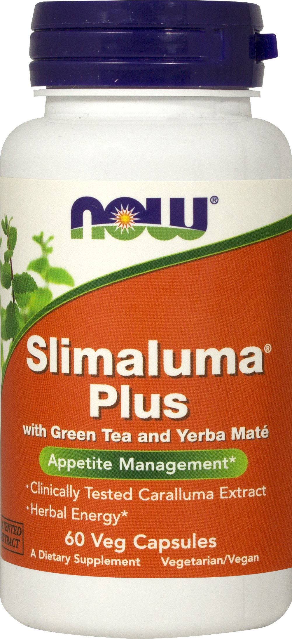 Slimaluma Plus <p><strong>From the Manufacturer's label:</strong></p><p>With Green Tea and Yerba Maté</p><p>NOW® Slimaluma® Plus contains a patented extract of Caralluma Fimbriata, and edible succulent native to India.</p><p>NOW® Slimaluma® Plus also features the synergistic ingredients Green Tea Extract and Yerba Mate for their antioxidant and energizing effects.**</p><p>Manufactured by Now Foods</