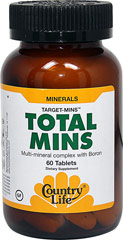 Total Mins Mineral Complex w/Boron <p><b>From the Manufacturer's Label:</b></p> <p>Multi-mineral complex with Boron</p> <p> Manufactured by Country Life.</p> 60 Tablets  $8.99