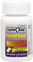 Travel-Ease Meclizine Hcl 25 Mg <p><b>From the Manufacturer's Label:</b></p> <p>Meclizine Hydrochloride</p> <p>For Motion  Sickness</p> <p>Less Drowsy Formula</p> <p>All Day Relief**</p> <p>Compare to active ingredient in Dramamine II</p> <p> Manufactured by GeriCare.</p> 100 Tablets 25 mg $10.99