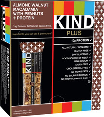 Kind Almond Walnut Macadamia with Peanuts + Protein <p><strong>From the Manufacturer's Label:</strong></p><p>KIND Almond Walnut Macadamia with Peanuts + Protein is a satisfying and crunchy blend of almonds, walnuts, macadamias and peanuts. Each bar contains 10 grams of protein, which promotes satiety.<br /></p> 12 per Box  $17.49