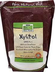 100% Pure Xylitol <p><strong>From the Manufacturer's Label: </strong></p><p>Xylitol is a sugar alcohol that is naturally present in small amounts in various fruits and vegetables. </p><p>It resembles sugar in consistency and taste, but has a third fewer calories and is a great sugar alternative for diabetics. It can be used as a sugar substitute in most sugar-free recipes.</p><p>Xylitol is manufactured by NOW® Foods.</p> 2.5 lb