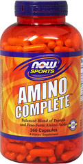 Amino Complete™ <p><b>From the Manufacturer's Label:</b></p>  <p>Balanced Blend of Amino Acids</p> <p>Manufactured by NOW® Foods</p> 360 Capsules  $16.99