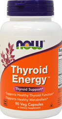 Thyroid Energy™ <p><b> From the Manufacturer's Label: </b></p> <p>Supports Healthy Thyroid Function</p> <p>Supports Healthy Metabolism**</p> <p>NOW® Thyroid Energy™ is a complete nutritional supplement for the support of healthy thyroid function. NOW has combined Iodine (from Kelp) and Tyrosine, the two integral constituents of thyroid hormone, with the minerals Selenium, Zinc and Copper, to assist in its production.  In