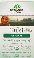 Organic Tulsi Holy Basil Original Tea <p><strong>From the Manufacturer's Label:</strong></p><p>Organic Tulsi Holy Basil Tea Original is delicious and known for it's benefits. Sit back and relax with a soothing cup of this tea to help unwind after a long day. Made with herbs to enhance life's qualities.<br /></p> 18 Tea Bags  $9.99