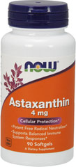 Astaxanthin 4 mg <p><b>From the Manufacturer's Label:</b></p> <p> Carotenoid Antioxidant</p> <p>Natural Extraction Process</p> <p>Astaxanthin is a naturally occurring carotenoid that, because of its unique structure, provides antioxidant benefits.**  Astaxanthin can help to protect cell membranes against free radicals and potentiates the action of other antioxidants like Vitamins E and C.** Astaxanthin can help to support a healthy immune