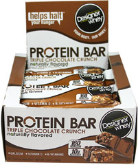 Designer Whey Protein Bar Triple Chocolate Crunch <p><strong>From the Manufacturer's Label:</strong></p><p>Naturally Flavored</p><p>Calcium + Vitamin D + B-Vitamins</p><p>Exercise and improper diet can deplete protein levels.  Whey protein helps build stronger muscles.**</p><p>A Designer Whey Protein® Bar is the perfect snack to help control cravings - letting you take control of your weight</p><p>Manufactured