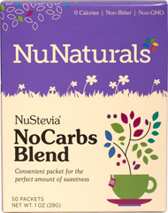 Nustevia™ No Carbs Blend™ Non Bitter <p><strong>From the Manufacturer's Label</strong></p><p>Nustevia products use only the highest grade of Stevia extract available, selected for purity, sweetness, and superior flavor. Plant based natural flavors are added to make our NuStevia products one of the best tasting around. NuStevia is an natural herbal sweetener. Our packets are very easy to take with you to work, when you go out to eat, and to other places where you