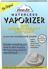 Waterless Vaporizer/Aromatherapy Unit <p><b>From the Manufacturer's Label:</b></p> <p>The Vaporizer Aromatherapy Unit has been designed to use no-mess replaceable pads that are filled with a carefully formulated blend of pure menthol and eucalyptus oil. Each pad will last for 6-10 hours, depending on the setting used. Five long lasting pads are supplied with each vaporizer. Extra refill packs are sold separately. </p>  <p> Waterless vaporizer</p&g