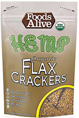 Hemp Flax Crackers <p>Hemp and Flax seasoned with the just the right amount of Rosemary that is, in a superb savory crunch.</p>  <p>• High Fiber</p> <p>• Omega-3</p> <p>• Gluten Free</p> <p>• Live Food</p> <p>• 100% Organic </p>  4 oz Bag  $9.99