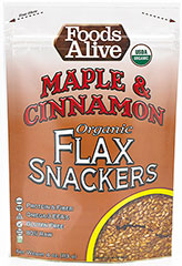 Maple Cinnamon Flax Crackers 100% Pure Grade A Maple syrup and a pleasant touch of cinnamon. Eat 'em right from the bag or with nut butters & jelly!  <p>•High Fiber</p> <p>•Omega-3</p> <p>•Gluten Free</p> <p>•Live Food</p> <p>•100% Organic </p>    4 oz Bag  $9.99