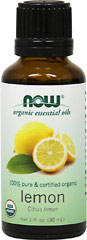 Organic Lemon Essential Oil <p><b >From the Manufacturer:</b></p> <p>Expressed from the peel of the fresh fruit, lemon oil is a sweetly scented, purifying oil</p> <p>Extra large 1 oz oil</p> 30 ml Oil  $9.99