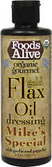 Organic Gold Flax Oil Dressing - Mike's Special <b><p>From The Manufacturers Label:</b></p> <p>Foods Alive's Gold Flax Oil Dressing is USDA Organic.  This, Mike's Special dressing, is blended with savory paprika, garlic and sweet raw agave for a delicious flavor. Great for salad, rice, wraps, potatoes, pastas and more. This product is gluten free and is a great source of Omega-3.</p> 8 oz Liquid  $19.99