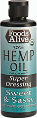Organic Hemp Oil Dressing- Meg's Sweet & Sassy <b><p>From The Manufacturers Label:</b></p> <p>Foods Alive's Hemp Oil Dressing is USDA Organic.  This dressing has a sweet and sassy flavor with agave and vinegar, great for salads, veggies and more. This product is gluten free and is a great source of Omega-3 and Omega-6.</p> 8 oz Liquid  $9.99