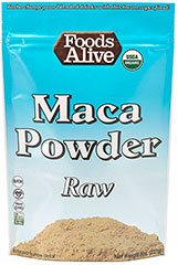 Maca Powder Raw <b><p>From The Manufacturers Label:</b></p> <p>Foods Alive's Maca Powder Raw is USDA Organic and gluten free. This amazing adaptogenic root helps nourish the endocrine system, enhances the ability to deal with stress and boosts energy, endurance, strength, and performance. </p> 8 oz Powder  $9.99