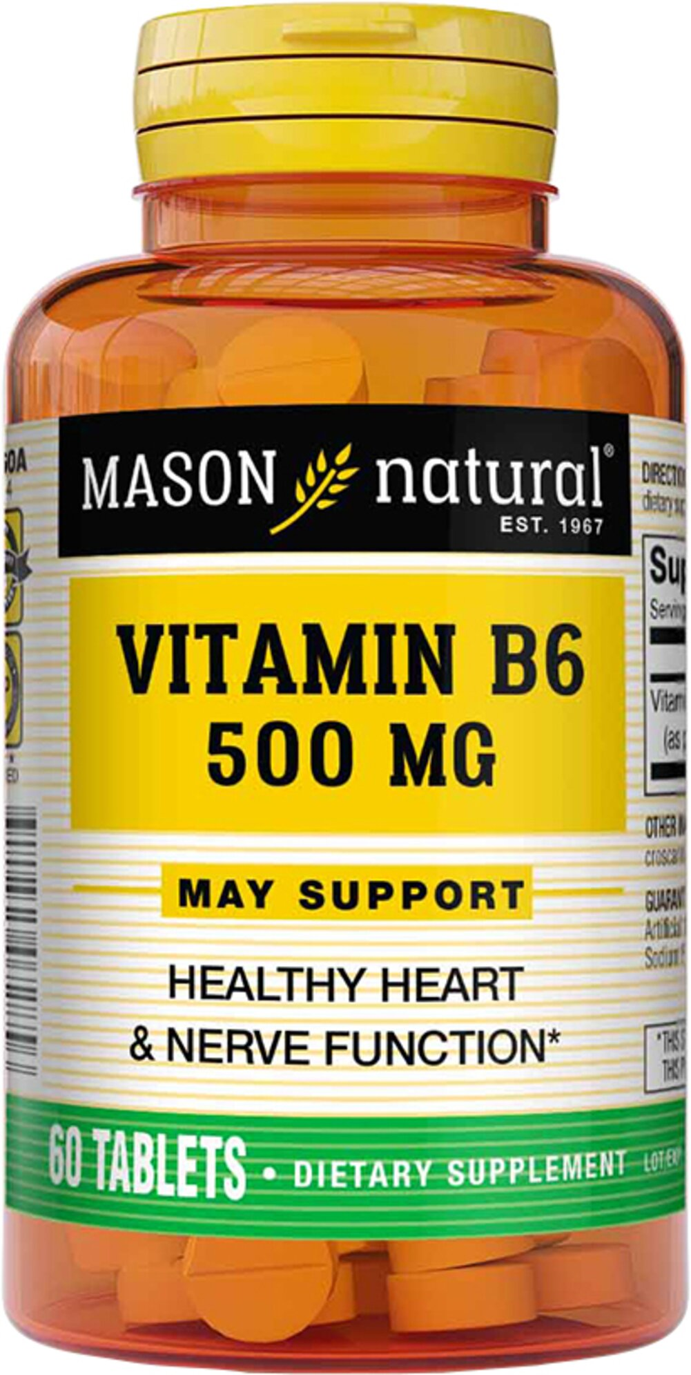Vitamin B-6 500 mg <p><strong>From the Manufacturer's Label</strong>:</p><p>B-6 500mg  is manufactured by Mason Naturals</p><p></p> 60 Tablets 500 mg $7.99