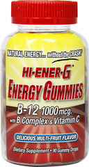Hi-Ener-G Energy Gummies <strong></strong><p><strong>From the Manufacturer's Label:</strong></p><p>HI-ENERG-G Energy Gummies contain 100mcg. Of B-12 along with B Complex and Vitamin C.  Delicious Multi-Fruit Flavor.</p> 90 Gummies  $9.99