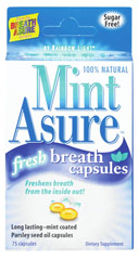 MintAsure™ Fresh Breath Capsules <p><strong>From the Manufacturer's Label:</strong></p><p>Freshens breath from the inside out! </p><p>Long lasting - mint coated</p><p></p><p>Parsley seed oil capsules</p><p>MintAsure™ Fresh Breath Capsules provide immediate and long-lasting fresh breath.</p><p><strong>Get Fresh -</strong> powerful mint coating instantly freshens breath</p><p><s
