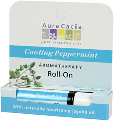 Cooling Peppermint Oil Roll On <p><strong>From the Manufacturer:</strong></p><ul><li>Invigorating</li><li>Nourishing</li><li>100% Essential Oils</li></ul><p>Peppermint essential oil's fresh, menthol aroma invigorates, refreshes and energizes the body, mind, and spirit.  Aura Cacia Cooling Peppermint Stick combines the therapeutic power of peppermint with skin-nourishing jojoba oil and coconut oil.<br /&