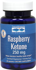 Raspberry Ketones <p><strong>From the Manufacturer's Label:</strong></p><p>Each capsule contains 250 mg Raspberry Ketones</p><p>Manufactured by Trace Minerals</p> 30 Capsules 250 mg $8.40