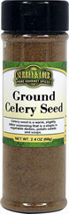 "Ground Celery Seed Ground celery, like celery seed, has the taste and smell of celery stalks, but its flavor is much more pronounced. Use anywhere you would seeds, but in half the quantity, as ground celery is much stronger.<span class=""bold-aboutinfo""> Try it in w</span>egetable dishes, potato salads, soups, stews, coleslaw, breads, salads, egg dishes, sauerkraut, sauces and fish.<br /><br /> 2.4 oz Ground  $4.99"