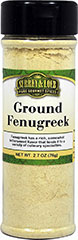 Ground Fenugreek This spice is primarily associated with Indian cuisine and is an essential ingredient in curry powders. Ground Fenugreek has a dull, yellow color and powdery texture. Use in curries, rice dishes, chutneys, soups, vegetables and roasts.<br /><br /> 2.7 oz Bottle  $5.99