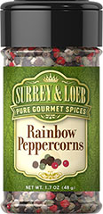 Rainbow Peppercorns <p>As flavorful as they are eye-catching, our Rainbow Peppercorns are a gorgeous mix of four peppercorns: intense black, powerful white, crisp green, and the much more rare pink, which has a somewhat fruity flavor. This bold combination allows you to experience the complexities of each pepper. Bursting with contrasting peppery goodness, this blend can make a robust addition to any dish.</p> 1.7 oz Pepper  $7.99