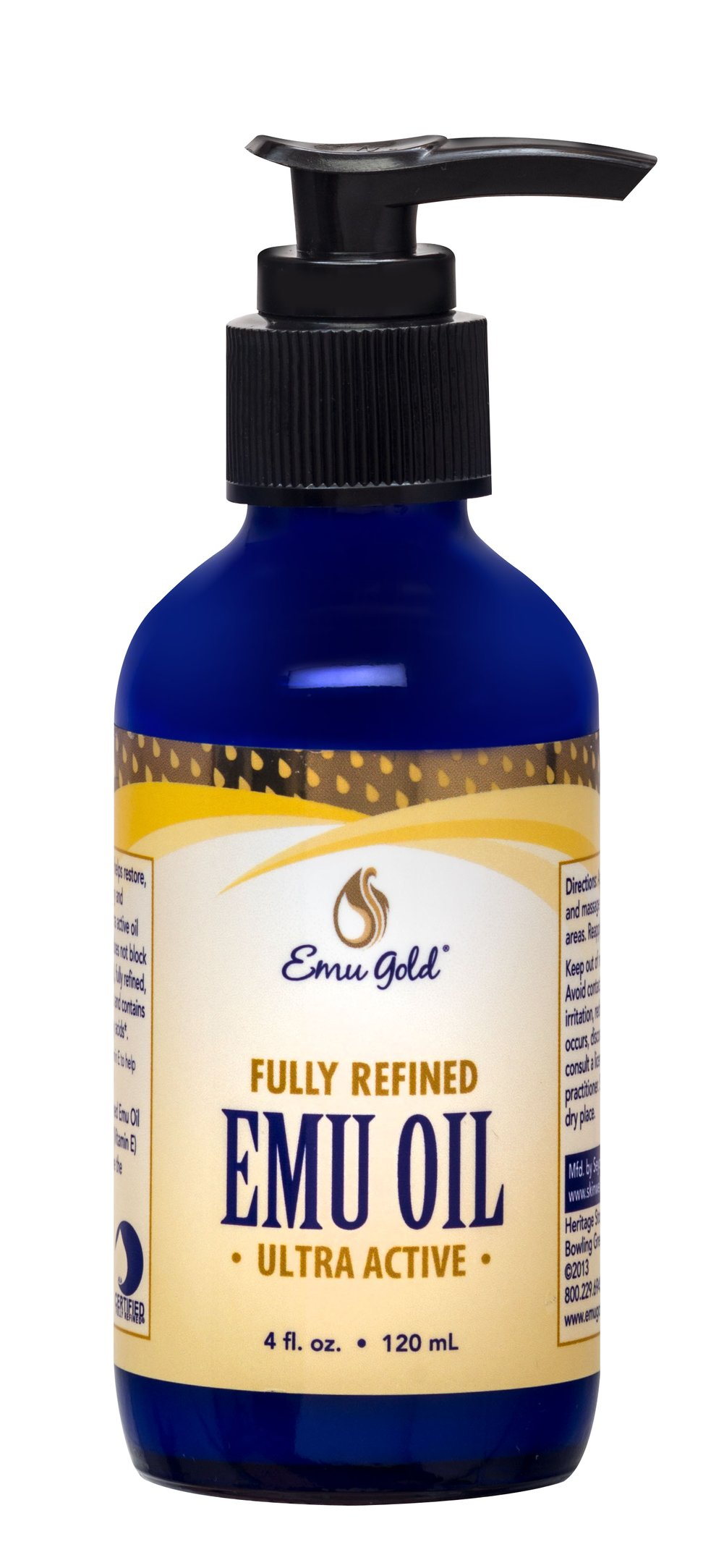 Emu Oil 100% Natural <p><b>From the Manufacturer's Label:</b></p>  <p>Emu Oil 100% 100% Natural is manufactured by Emu Gold®.</p> 4 oz Oil