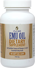 Emu Oil 750 mg <p><b>From the Manufacturer's Label:</b></p> <p>Emu Oil 750 mg is manufactured by Emu Gold®.</p> 90 Capsules 750 mg $17.99
