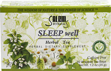 Sleep Well Herbal Tea <p><b>From the Manufacturer's Label:</b></p> <p>Caffeine Free</p> <p>Sleep well is an effective blend with a combination of herbs which promotes relaxation and good sleep.**  It is a natural supplement which helps soothe the nervous system before going to bed.**</p> <p>Manufactured by Salem Botanicals.</p> 20 Tea Bags  $3.99