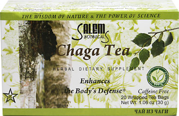 Chaga Herbal Tea <p><strong>From the Manufacturer's Label:</strong></p><p>Caffeine Free Herbal Tea</p><p>This tea from Salem Botanicals is delicious and caffeine free! Herbal tea is simply the combination of boiling water and dried fruits, flowers, roots or herbs. Enjoy this tea at any time of day!</p> 20 Tea Bags  $3.59