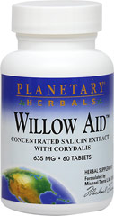 Willow Aid™ with Corydalis 635 mg <p><strong>From the Manufacturer''s Label:</strong></p><p>Willow bark has been used for centuries by herbalists and health professionals worldwide. It is rich in a broad spectrum of phenolic glycosides, including the highly valued salicin. Planetary Herbals Willow Aid™ unites this concentrated willow extract with Chinese corydalis, boswellia extract, guggul and other renowned soothing botanicals.</p><p>Manufactur