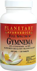Full Spectrum™ Gymnema 450 mg <p><strong>From the Manufacturer's Label:</strong></p><p>Gymnema, valued in Ayurvedic herbalism for centuries, helps maintain healthy blood sugar levels when used as part of the diet. It supports healthy glucose metabolism by mediation of insulin release and activity and supports healthy pancreatic function. Planetary Ayurvedics Full Spectrum™ Gymnema is standardized to 25% gymnemic acids.</p><p><strong></strong
