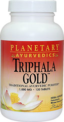 Triphala Gold 1000 mg <p><strong>From the Manufacturer's Label:</strong></p><p>Triphala is the most highly revered of all Ayurvedic herbal formulas in India.   Consisting of three uniquely sour and astringent fruits, Amla, Jarada, and Behada, Triphala is a potent, yet gentle formula designed to support the body's natural digestive and cleansing processes. <br /></p><p>Manufactured by Planetary Ayurvedics.</p> 120 Tablets 1000 mg $9.99