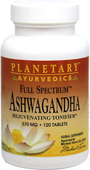 Full Spectrum™ Ashwaghanda 570 mg <p><b>From the Manufacturer's Label:</b></p> <p>Rejuvenating Tonifier**</p> <p>Ashwagandha is one of the world's most powerful adaptogens,  used traditionally in Ayurvedic herbalism.  Planetary  Ayurvedics Full Spectrum™ Aswagandha combines whole root powder with root extract to capture all the plant's valuable compounds.</p> <p>Manufactured by Planetary Herbals</p> 120 Tablets 570 mg $13.99