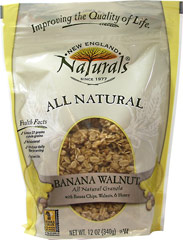 "Banana Walnut Granola <p style=""line-height:normal;""><span style=""font-size:12.0pt;font-family:'Times New Roman','serif';""></span>Chock full of nuts, sweetened only with honey. A banana walnut combination combined with nut & banana flavors.</p><p style=""line-height:normal;"">Whole rolled oats, expeller-pressed canola oil, walnuts, honey, banana chips with coconut oil, and coconut.</p><p style=""line-h"