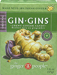 Chewy Ginger Candy <p>America's #1 selling ginger candy  are natural, stimulating and delicious. Given ginger's queasy-quelling properties, Ginger Chews are great to fight off nauseas while flying or going on a bumpy road trip. Surprisingly and satisfying spicy.</p> 1.6 oz Box  $3.99
