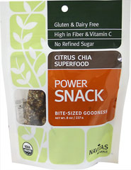 Organic Raw Citrus Chia Super Food Power Snack <p>Citrus Chia Powerfood is a bite sized snack made from the most nutrient-dense plants found in nature, packed with functional ingredients including Chia seed, cashew, sesame seed, apricot, raisin, chia powder, maca powder, camu camu powder, lucuma powder, and orange flavor.</p> <p> •Powerful and healthy </p> <p> •Gluten & Dairy Free </p> <p>•High in fiber and Vitamin C</p> <p>•No Refined Su