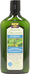 Avalon Peppermint Strengthening Shampoo <p><b>From the Manufacturer's Label</b></p> <p><b>Organic Peppermint Essential Oil, </b>Babassu Oil, Organic Aloe and Vitamins strengthen elasticity of weak, brittle hair while smoothing split ends and fly-aways for radiantly renewed bounce and length.  </p>  <p>Gentle, plant-derived cleansers, enriched with Babassu Oil, vitamin E, Panthenol, Arginine and Organic Peppermint thoroughly cleanse while