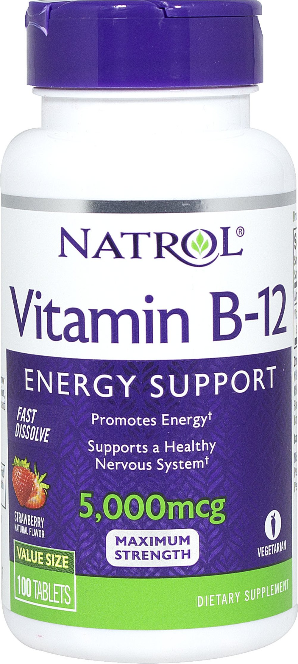 Vitamin B-12 5000 mcg Fast Dissolve <p><strong>From The Manufacturers Label:</strong></p><p><strong></strong></p><p>Natrol Vitamin B-12 Fast Dissolve delivers high potency energy support in a delicious, strawberry-flavored tablet.  This fast-dissolve formula delivers unique, rapid dissolve technology that helps promote fast absorption.</p><p>Manufactured by Natrol</p><p></p> 100 Tablets 5000 mcg $8.99