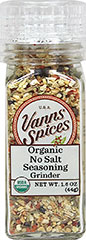 Organic No Salt Seasoning Grinder <p><strong>From the Manufacturers Label:</strong></p><p><strong></strong></p><p>Grind just before using for optimum freshness.  A general all-purpose seasoning adding flavor without salt.<br /></p> 1.6 oz Grinder  $9.09