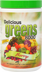 Delicious Greens 8000 Berry <p><strong></strong></p><p><strong>From the Manufacturer's Label:</strong></p><ul><li>100% Natural!</li><li>Berry Flavor</li><li>No Preservatives, Wheat, Lactose or MSG</li><li>Vegetarian Formula</li><li>No Sugar Added</li><li>8000+ ORAC Units per Serving†</li><li>Antioxidant Power of more than 20 Servings of Fruits & Vegetabl