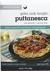 Puttanesca Spaghetti Sauce Mix <p><strong>From the Manufacturer's Label:</strong></p><p><strong></strong></p><p>Urban Accents Gotta Cook Tonight Puttanesca is a rustic spaghetti sauce mix with a one pot prep. Includes a delicious Rustic Southern Italian pasta dish recipe with tomatoes, olives, and capers. Use as a garnish to sprinkle on with grated parmesan cheese and parsley. Sauce is also great over chicken breasts or white fish filets.