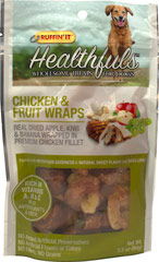 Healthfuls Wholesome Treats for Dogs Chicken & Fruit Wraps <p><strong>From the Manufacturer's Label:</strong></p><p>Ruffin' It™ Healthfuls Chicken and Fruit Wraps are packed with nutritious goodness and a natural sweet flavor that dogs love.  100% natural dried apple, banana & kiwi wrapped in a premium chicken filet.  No artificial preservatives, no fillers, no grains and  no artificial flavors or colors.</p> 3.5 oz Bag  $6.99