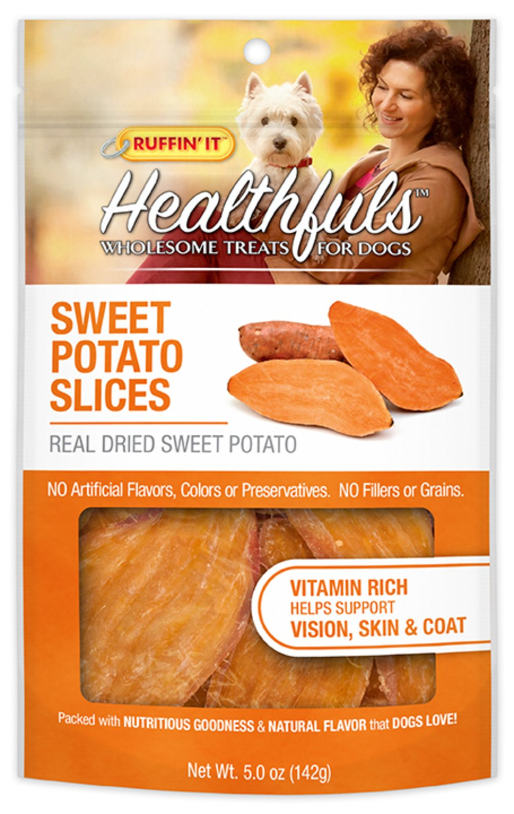 Healthfuls Wholesome Treats for Dogs Sweet Potato Slices <p><strong>From the Manufacturer's Label:</strong></p><p>Ruffin' It™ Healthfuls Sweet Potato Slices are packed with nutritious goodness and a natural sweet flavor that dogs love.  100% natural dried sweet potato slices. No artificial preservatives, no fillers, no grains and  no artificial flavors or colors.</p> 5 oz Bag  $4.49