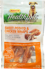 Healthfuls Wholesome Treats for Dogs Sweet Potato & Chicken Wraps <p><strong>From the Manufacturer's Label:</strong></p><p>Ruffin' It™ Healthfuls Sweet Potato & Chicken Wraps are packed with nutritious goodness and a natural sweet flavor that dogs love.  100% natural dried sweet potato wrapped in premium chicken filet. No artificial preservatives, no fillers, no grains and  no artificial flavors or colors.</p> 3.5 oz Bag  $6.99