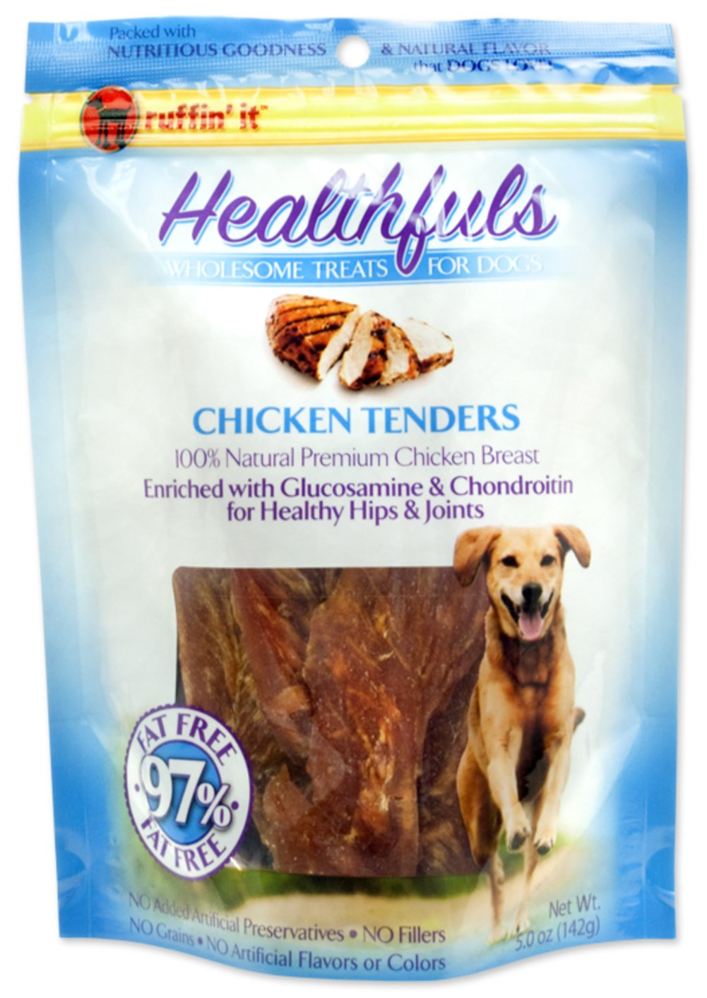 Healthfuls Chicken Tenders with Glucosamine & Chondroitin <p><strong>From the Manufacturer's Label:</strong></p><p>Ruffin' It™ Healthfuls Chicken Tenders are packed with nutritious goodness and a natural sweet flavor that dogs love.  100% natural premium chicken breast enriched with glucosamine & chondroitin.  No artificial preservatives, no fillers, no grains and  no artificial flavors or colors.</p> 5 oz Bag  $9.99