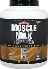 Muscle Milk® Collegiate Chocolate <p><strong>From the Manufacturer's Label: </strong></p><p>99% Lactose Free</p><p><strong>Our Philosophy:</strong> Proper nutrition based on sound scientific principles is one of the tenets of optimum athletic performance. We have long encouraged student athletes to take responsibility for their decisions about proper nutrition, and we hope that their choices are made because they are well-informed an