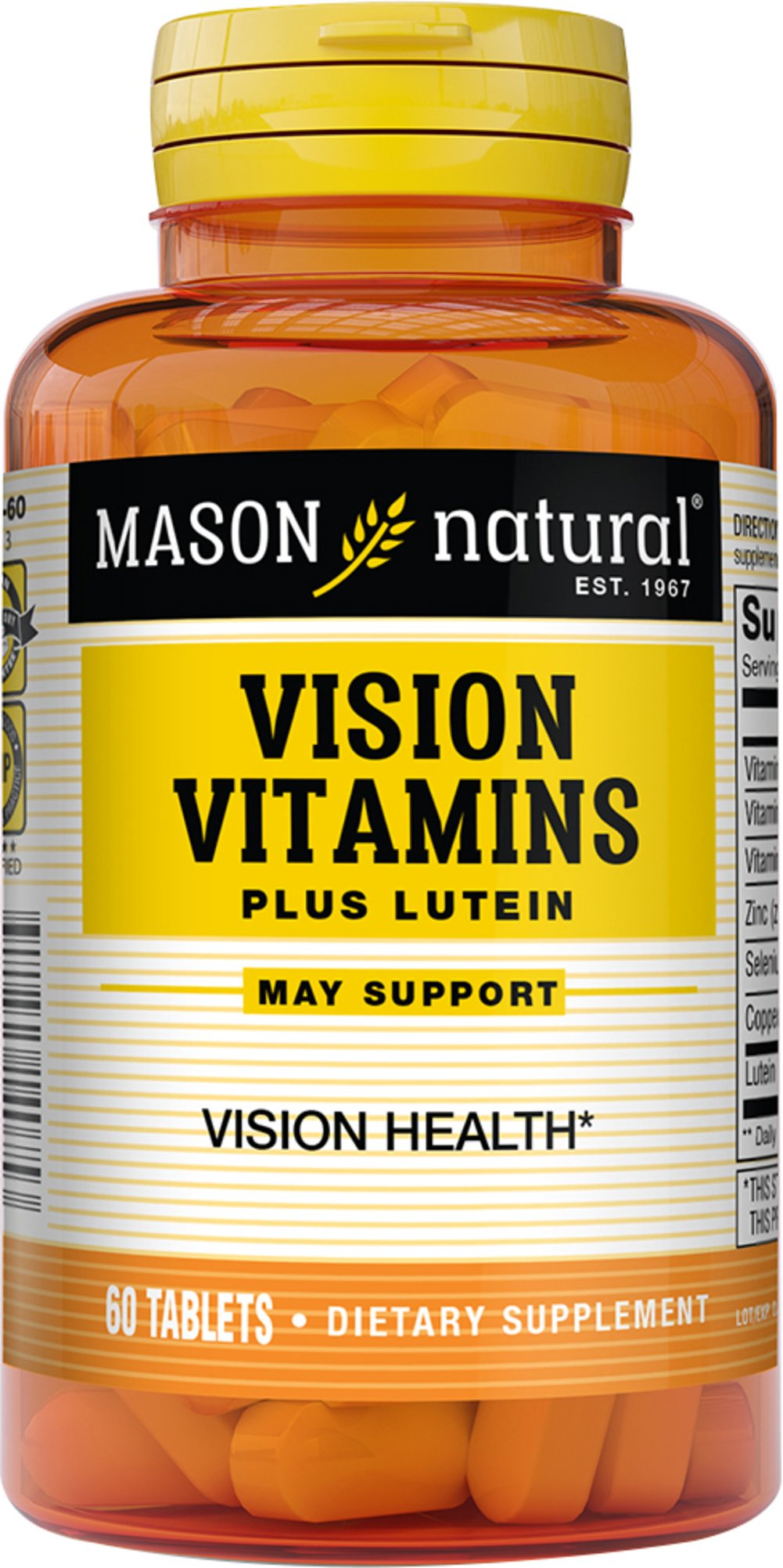 Vision Vitamins Plus Lutein <strong>From the Manufacturer's Label:</strong><br /><br />High Potency  Antioxidant<br />Helps maintain Healthy vision**<br /><br />Manufactured by Mason 60 Tablets  $6.59