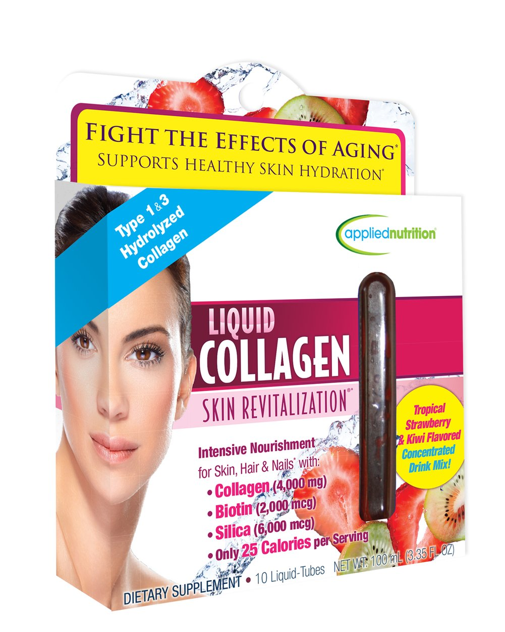 Liquid Collagen 4,000 mg Skin Revitalization™ <p><strong>From the Manufacturer''s Label:</strong></p><p><strong>Intensive Nourishment for Skin, Hair  & Nails</strong> with:</p><p>- Collagen (4,000 mg)</p><p>- Biotin (2,000 mcg)</p><p>- Silica (6,000 mcg)</p><p>- Vitamin A & E</p><p>Strawberry & Kiwi Flavored Concentrated Drink Mix</p><p>Collagen may be