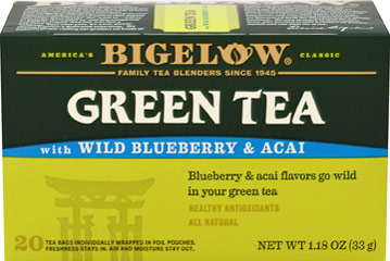 Decaf Green Tea With Wild Blueberry & Acai <p><strong>From the Manufacturer's Label:</strong></p><p>Green Tea With Wild Blueberry & Acai Decaf is protected from any air, moisture, and surrounding aromas with a special foil pouch so open and enjoy the flavor and freshness of this delicious green tea!<br /></p> 20 Tea Bags  $5.39